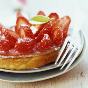 tarte fraise - rhubarbe à la menthe
