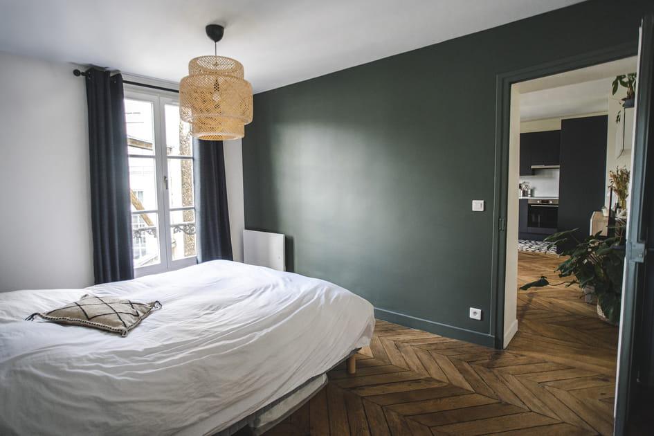 Du vert kaki dans la chambre pour plus d'intimité