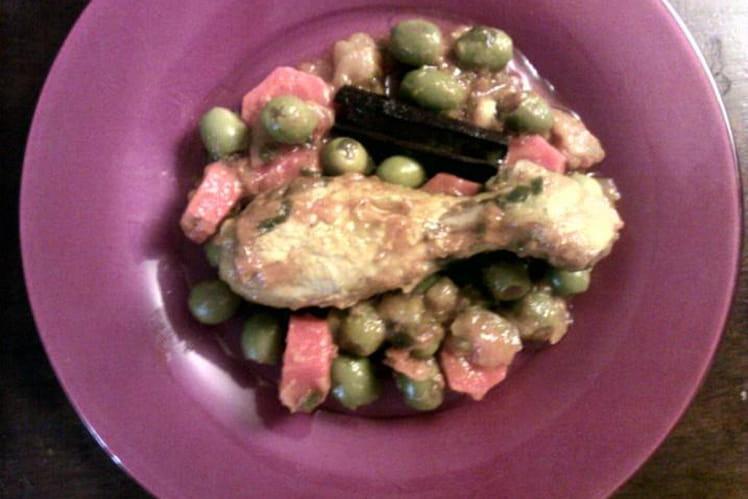 Tajine de poulet, olives et carottes