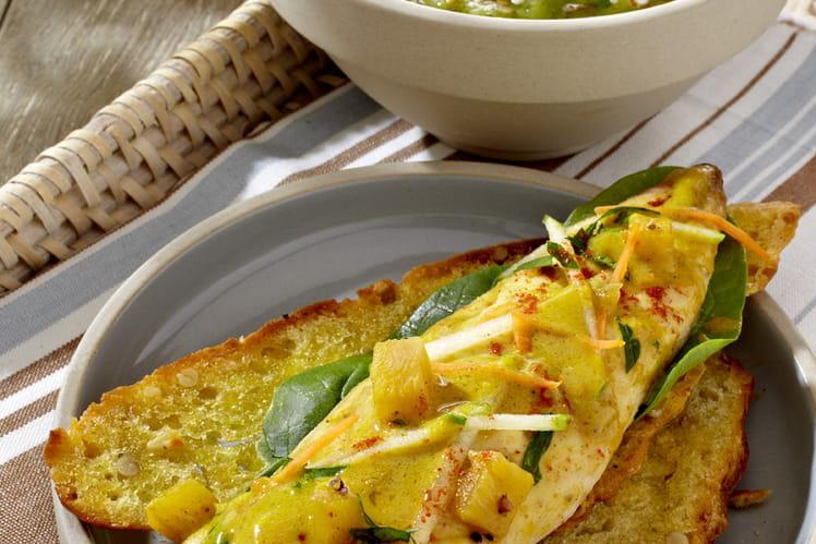 Gaspacho de courgettes et maquereaux à l'indienne