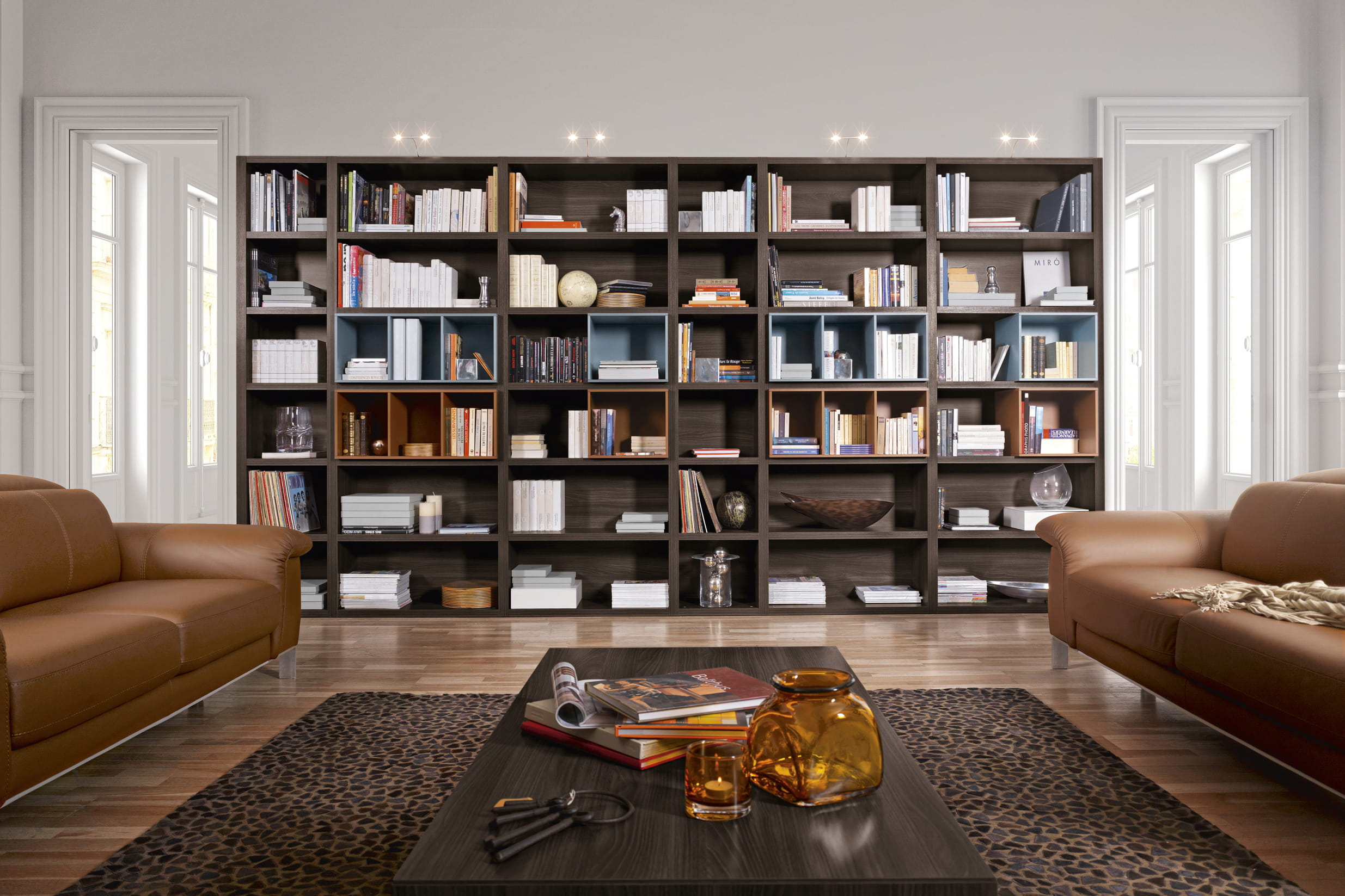 biblioth que en noyer fum gautier. Black Bedroom Furniture Sets. Home Design Ideas
