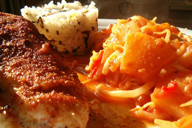 Poitrine de poulet, germes de soja à l'ananas, riz