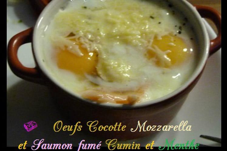 Oeufs cocotte mozzarella, saumon fumé au cumin et menthe