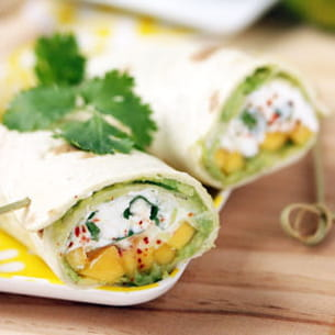wraps avocat-chèvre-mangue