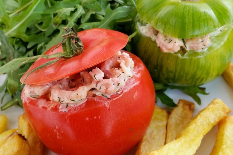 Tomates-crevettes et frites au four