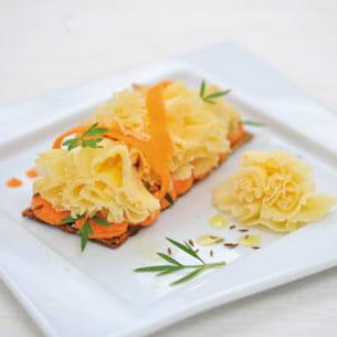 tête de moine aop à la carotte parfumée au cumin de christopher hache