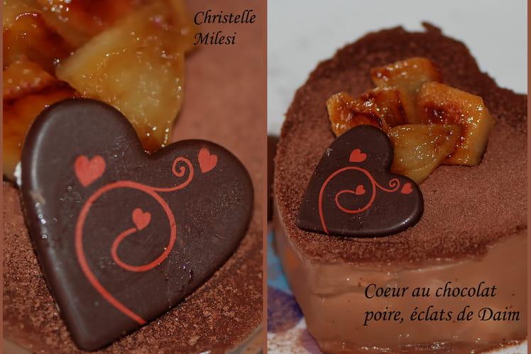 Cœur au chocolat, poire, éclats de Daim