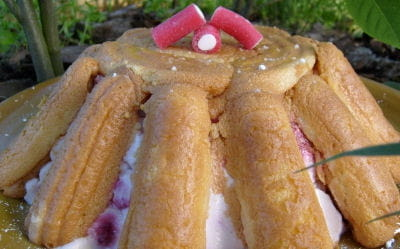 charlotte framboises, noix de coco et cardamome
