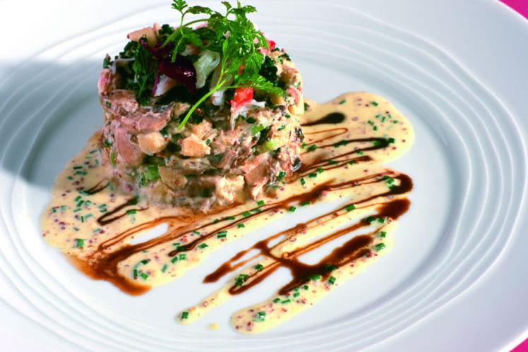 Chartreuse d'Ariane et crabe aux champignons de paris