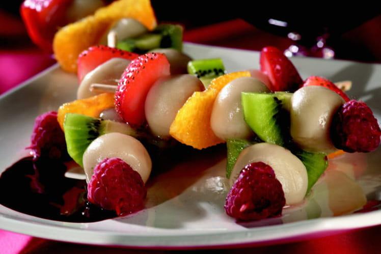 Brochettes de fruits de saison au Floc de Gascogne