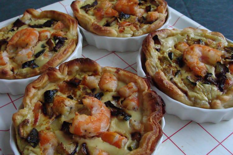 Tartelettes crevettes, curry, courgettes