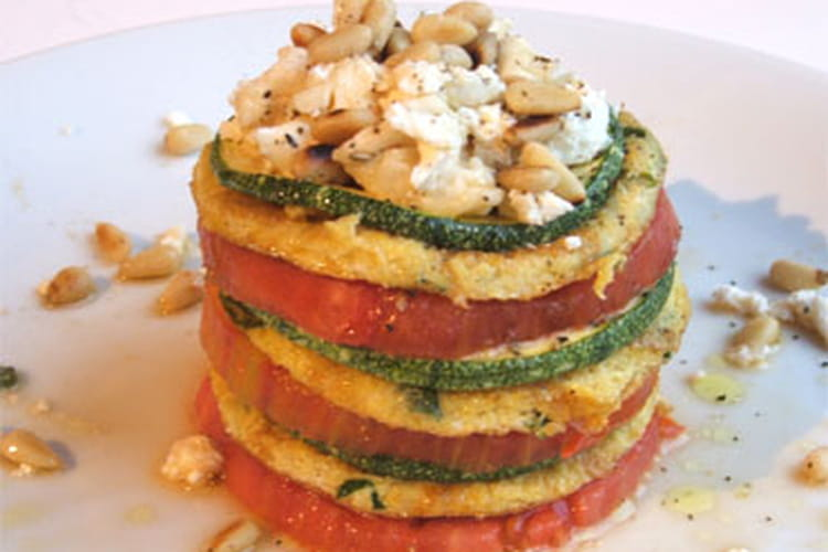 Millefeuille d'omelette tomate-courgette-chèvre