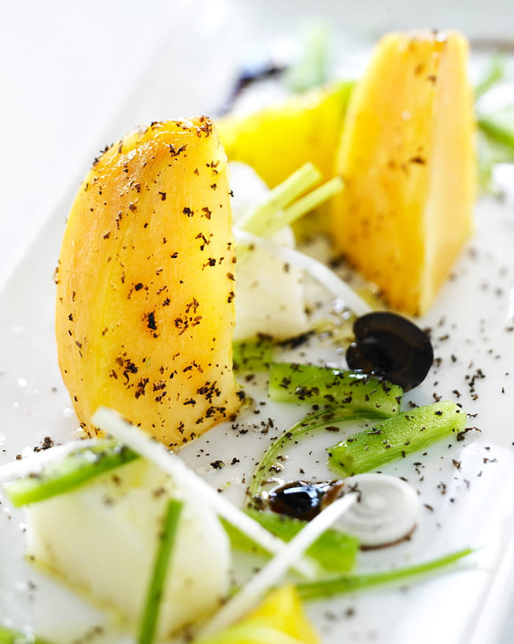 Recette de salade de kaki persimon la morue la recette - Cuisiner la morue dessalee ...