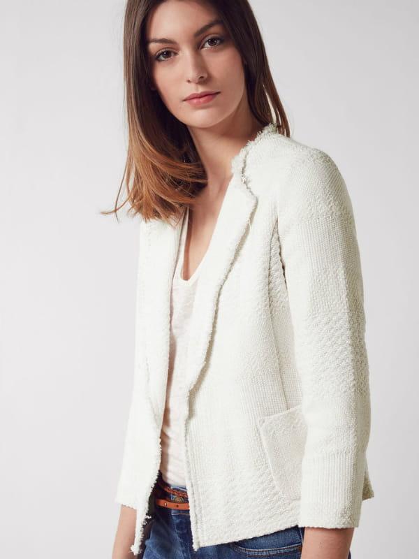 Veste off white de comptoir des cotonniers - Veste tweed comptoir des cotonniers ...