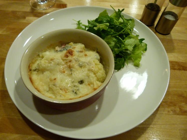 recette de gratin de chou fleur, lardons, roquefort : la recette