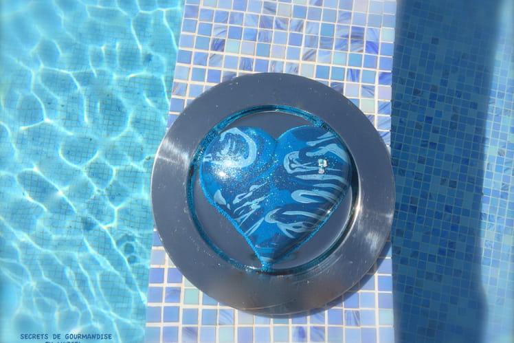Coeur océan - bavarois chocolat noir et framboises