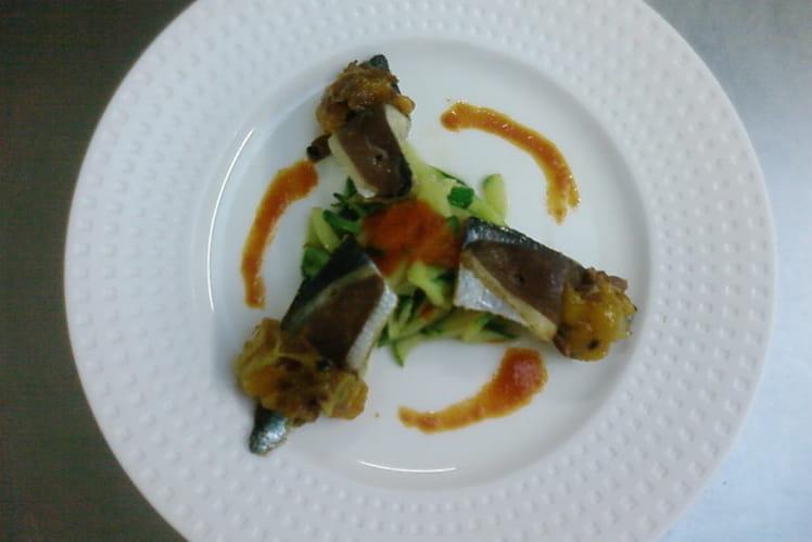Filets de sardines, magret fumé chutney de passion