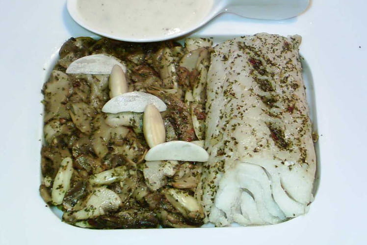 Cabillaud, champignons en persillade aux amandes