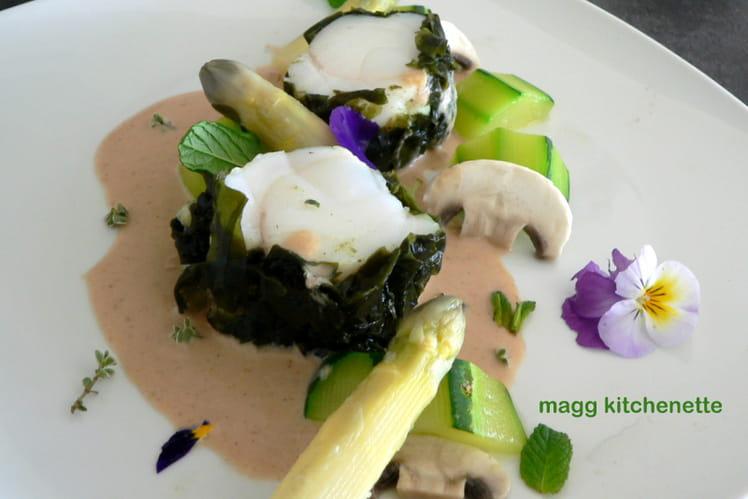 Lotte en robe de wakamé, ses petits légumes à la sauce océane