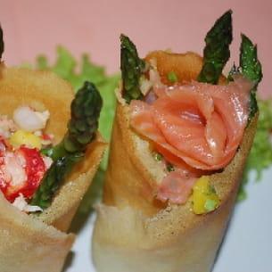 croustillants de saumon fumé ou de crabe