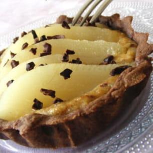 tartelettes choco-poire, crème noisette et caf