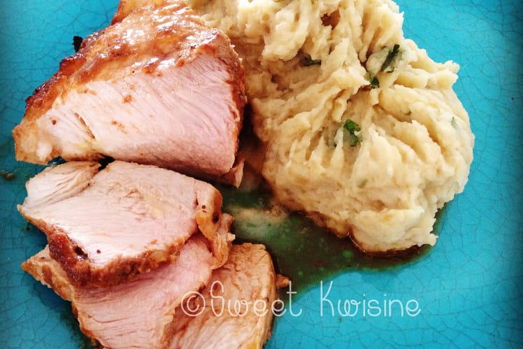 Rouelle de porc rôtie à l'orange et puree de patate douce