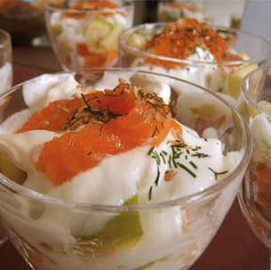 verrines au saumon et à la patate douce