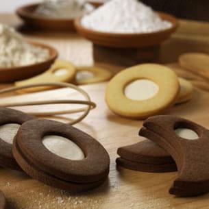 sablés chocolat fourrés au kiri
