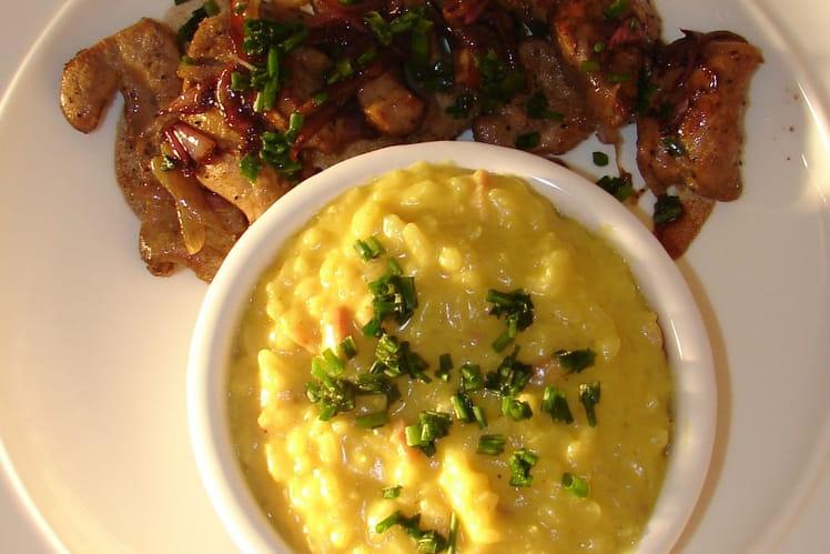 Foie de veau et son risotto au safran et lardons