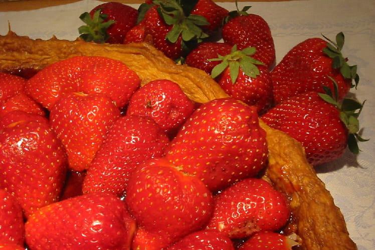 Tarte aux fraises sans crème pâtissière