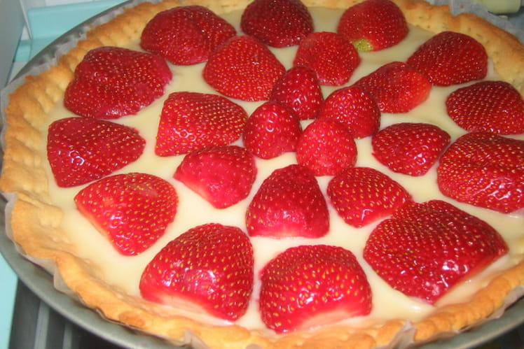 Tarte au chocolat blanc et aux fraises