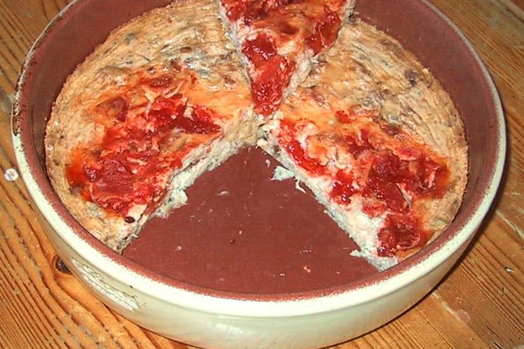 Clafoutis au thon, tomates et paprika