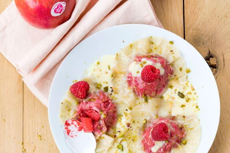 Ravioles aux pommes Pink Lady® et aux framboises