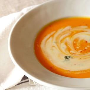 soupe de courge, crème de roquefort