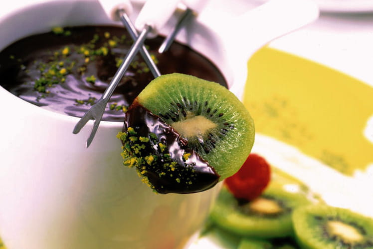 Fondue de kiwi au chocolat