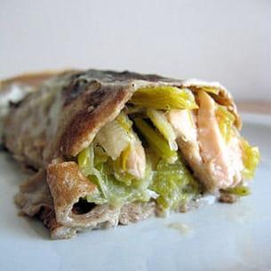 crêpes à la farine de châtaigne, garniture saumon