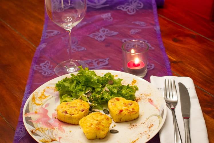 Muffins de pommes de terre, lardons, parmesan
