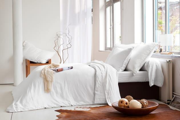 Parure de lit en lin lavé chez Tradition des Vosges