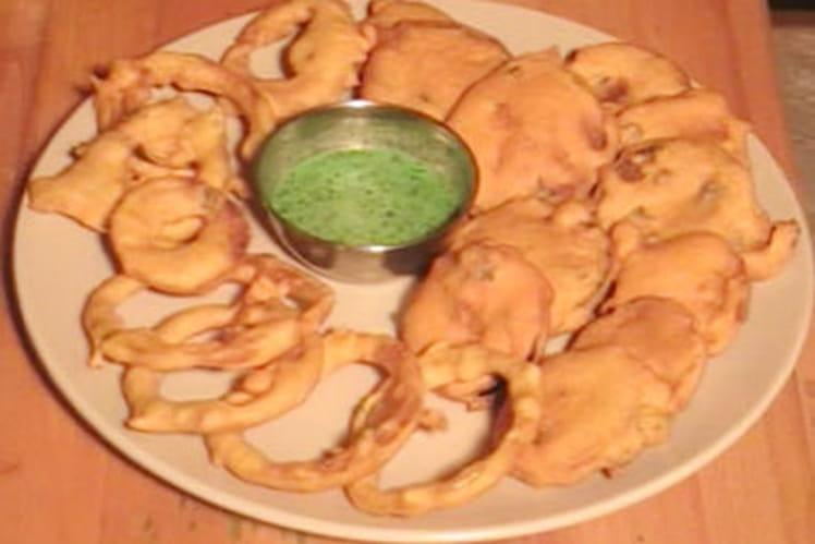 Pakoras de légumes au curry et gingembre