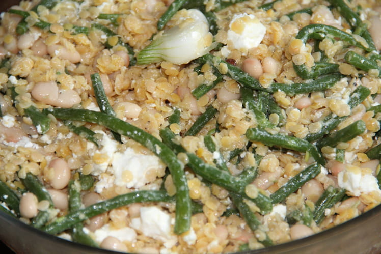 Salade haricots lentilles corail oignons et feta - Cuisiner haricots verts surgeles ...
