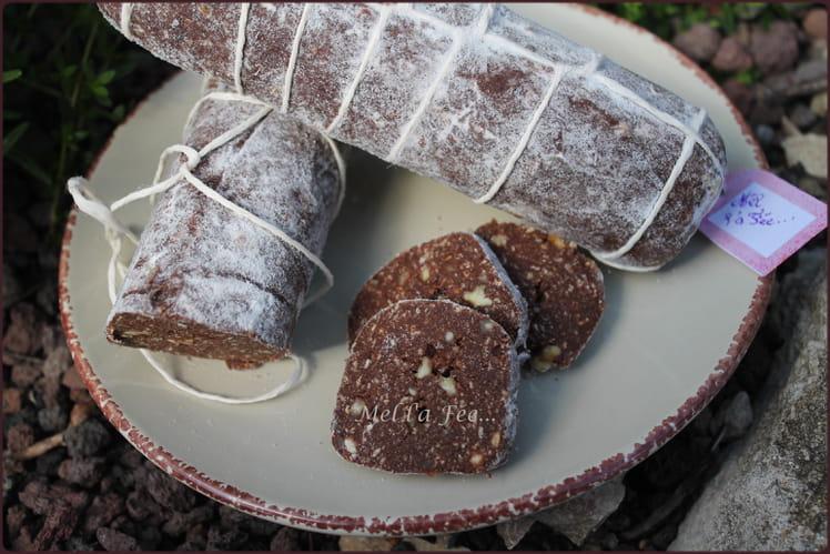 Saucisson au chocolat, fruits secs et rhum