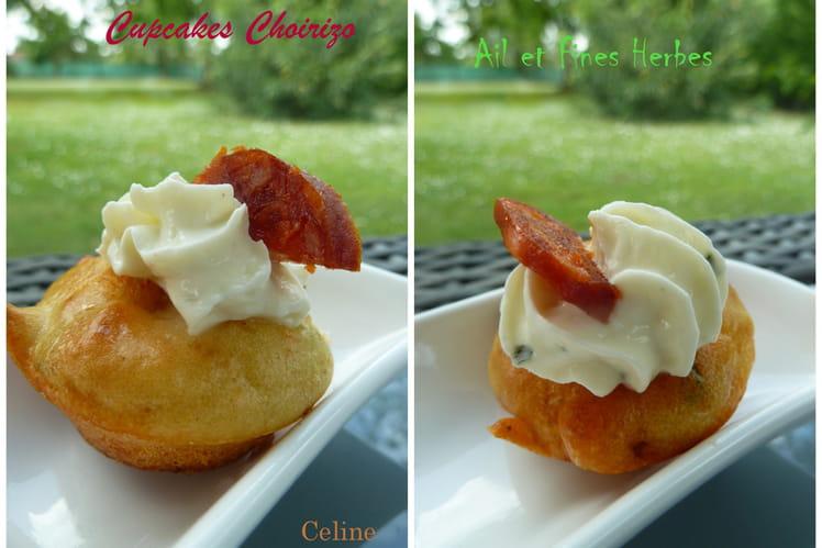 Mini cupcakes au chorizo, ail et fines herbes