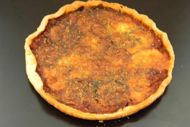Tarte aux aubergines, tomate et mozzarella