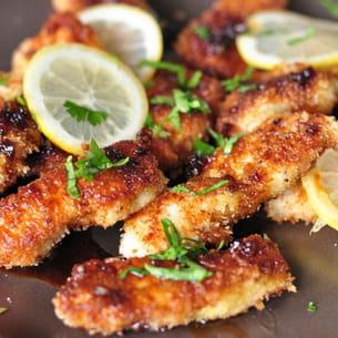 poulet croustillant au citron et salade fenouil/courgette