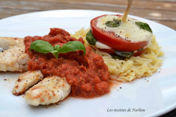 Recette Aiguillettes de poulet sauce tomate-mozzarella