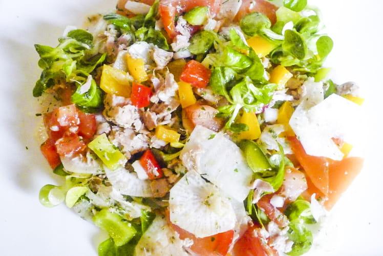 Salade tomates, poivrons et thon