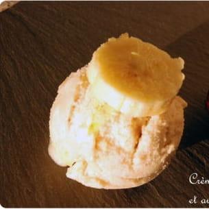 crème glacée banane, coulis passion