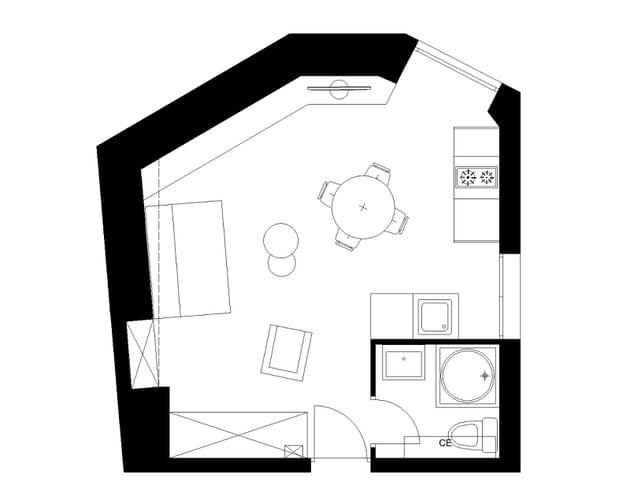 Le plan du studio après travaux