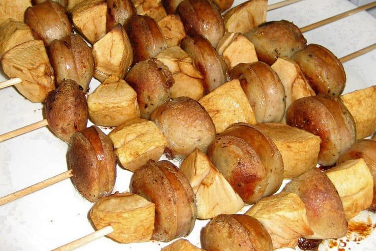Brochettes boudin blanc et pomme