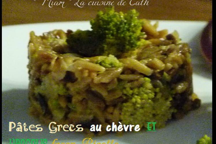 Pâtes grecques tomate, chèvre, brocolis façon risotto